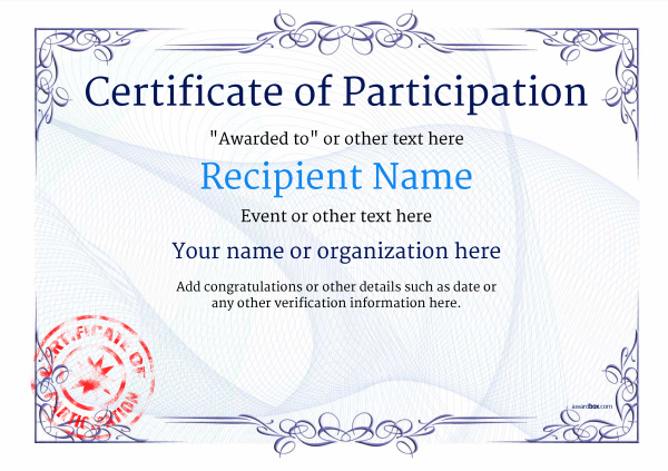 Participation Certificate Templates - Free, Printable, Add for Certificate Of Participation Template Ppt