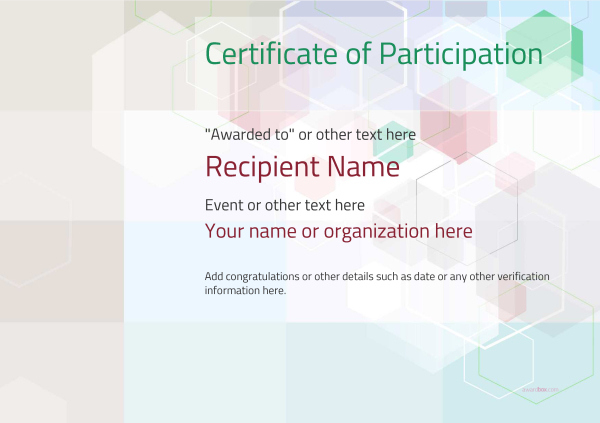 Participation Certificate Templates - Free, Printable, Add in Participation Certificate Templates Free Printable