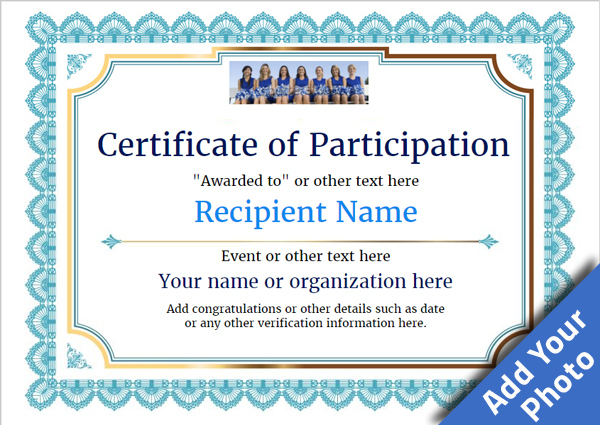 Participation Certificate Templates - Free, Printable, Add pertaining to Templates For Certificates Of Participation