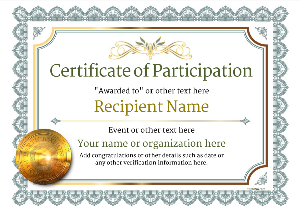 Participation Certificate Templates - Free, Printable, Add within Unique Free Templates For Certificates Of Participation