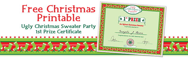 Party Simplicity Free Christmas Printable Ugly Christmas in Unique Free Ugly Christmas Sweater Certificate Template