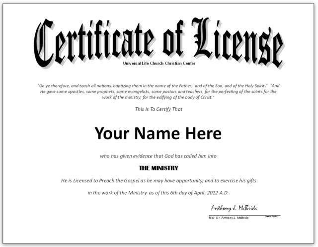 Pastor License Certificate Template - Google Search In Certificate Of License Template