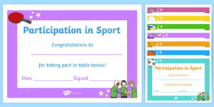 Pe Certificates For Participation (Teacher Made) for Best Table Tennis Certificate Templates Editable
