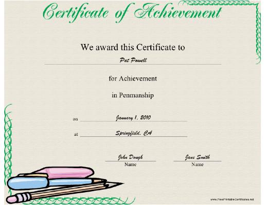 Penmanship Printable Certificate | Handwriting Analysis with Best Handwriting Award Certificate Printable
