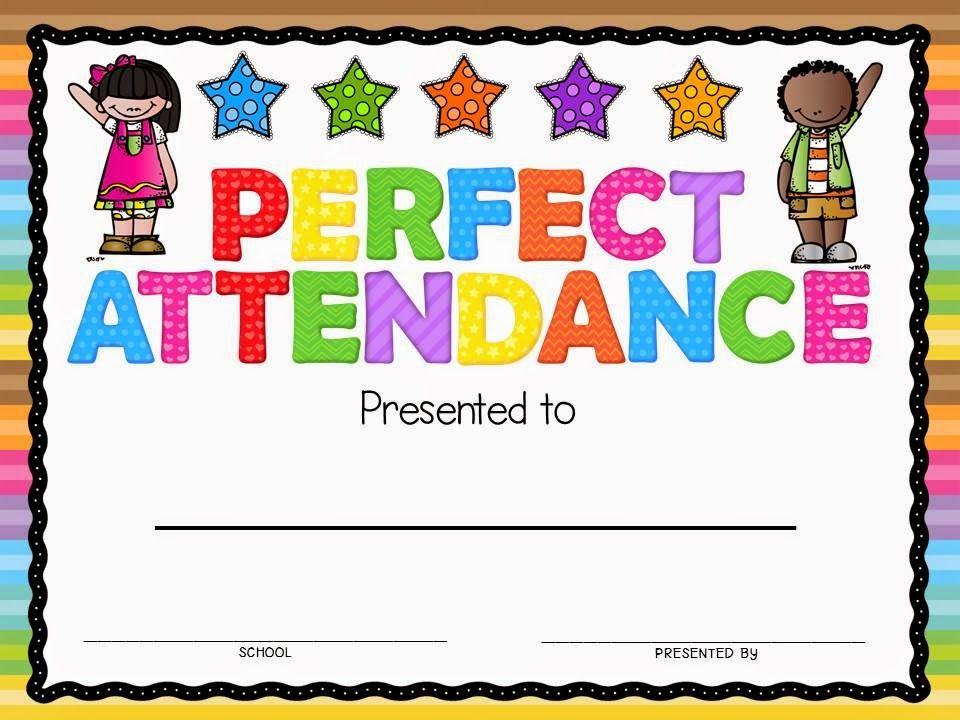 Perfect Attendance Award   Attendance Certificate, Perfect for Perfect Attendance Certificate Template Editable
