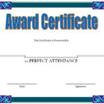 Perfect Attendance Award Certificate Free Printable For Attendance Certificate Template Word