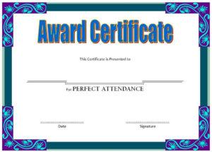 Perfect Attendance Award Certificate Free Printable pertaining to Unique Perfect Attendance Certificate Template Free