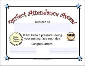 Perfect Attendance Certificate | Attendance Certificate intended for Unique Perfect Attendance Certificate Free Template