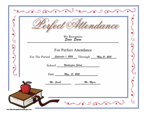 Perfect Attendance Certificate Printable Certificate regarding Unique Perfect Attendance Certificate Free Template