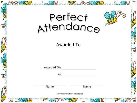Perfect Attendance Certificate Template Download Printable inside Perfect Attendance Certificate Template Free