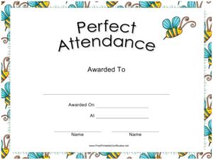 Perfect Attendance Certificate Template Download Printable within New Perfect Attendance Certificate Template