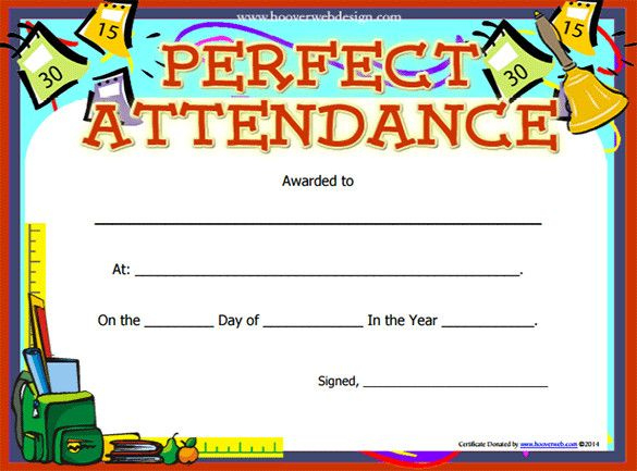 Perfect Attendance Certificate Template | Free Printable inside Perfect Attendance Certificate Template