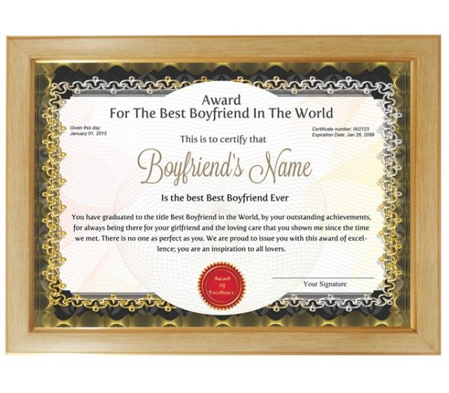 Personalized Award Certificate For Worlds Best Boyfriend Throughout Best Boyfriend Certificate Template