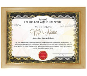 Personalized Award Certificate For Worlds Best Wife With Frame with Best Wife Certificate Template