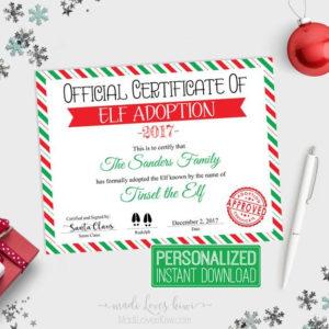 Personalized Elf Adoption Certificate Printable, Official with Elf Adoption Certificate Free Printable