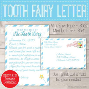 Personalized Tooth Fairy Letter Kit Boy, Printable Download First Lost  Tooth Note Set Envelope Template Pdf Digital Gift Idea No Teeth Cards with regard to Unique Free Tooth Fairy Certificate Template