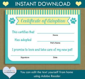 Pet Adoption Certificate / Instant Download Printable Pet intended for Dog Adoption Certificate Free Printable 7 Ideas