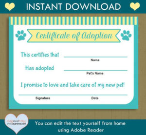 Pet Adoption Certificate Printable Free – Pet'S Gallery regarding Pet Adoption Certificate Template Free 23 Designs