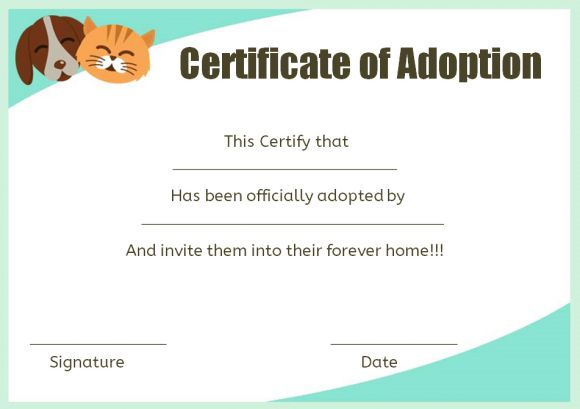 Pet Adoption Certificate Template: 10 Creative And Fun for Quality Cat Adoption Certificate Template