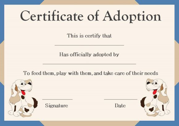Pet Adoption Certificate Template: 10 Creative And Fun inside New Pet Adoption Certificate Template