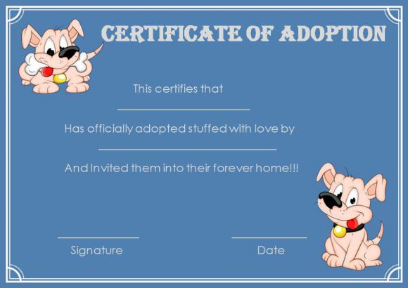 Pet Adoption Certificate Template: 10 Creative And Fun regarding New Pet Adoption Certificate Template Free 23 Designs