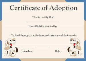 Pet Adoption Certificate Template   Pet Adoption Certificate with regard to Best Dog Adoption Certificate Editable Templates