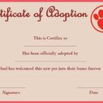 Pet Rock Adoption Certificate Template | Pet Adoption with Pet Adoption Certificate Template