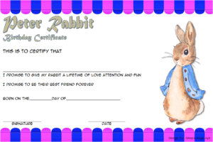 Peter Rabbit Birth Certificate Free Printable 3 | Birth with Fresh Rabbit Birth Certificate Template Free 2019 Designs
