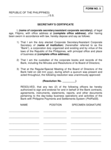 Philippines Secretary'S Certificate Form Download Printable with Corporate Secretary Certificate Template