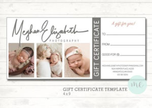 Photographer Gift Certificate Template. Gift Card. Gift Certificate.  Newborn Photography. Printable Template. Photoshop Template. Printable. with regard to Fresh Photography Gift Certificate