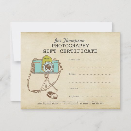 Photographer Photography Gift Certificate Template intended for Quality Photoshoot Gift Certificate Template