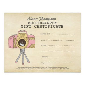 Photographer Photography Gift Certificate Template | Zazzle in Photography Session Gift Certificate