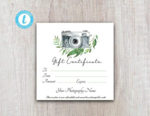 Photography Gift Certificate Template, Client Gift Card, Gift Voucher  Template, Gift Certificate Printable, Gift Card Download For Customers for Photoshoot Gift Certificate Template