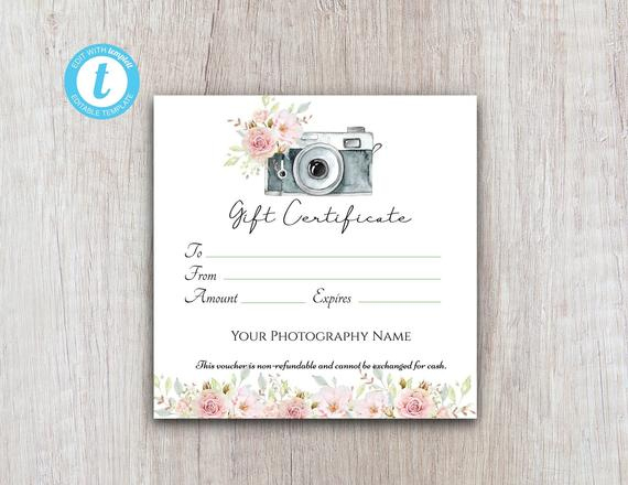 Photography Gift Certificate Template, Gift Voucher Printable Template,  Gift Card Download For Customers with regard to Free Photography Gift Certificate Template