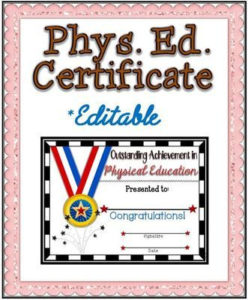 Phys. Ed. Certificate (7) ~ Editable | | Physical Education within Physical Education Certificate Template Editable
