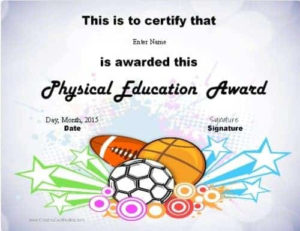 Physical Education Awards And Certificates – Free inside Unique Physical Education Certificate Template Editable