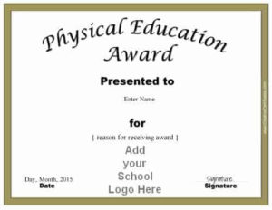 Physical Education Awards And Certificates – Free intended for Best Pe Certificate Templates