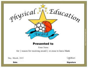 Physical Education Awards And Certificates – Free pertaining to Physical Education Certificate 8 Template Designs