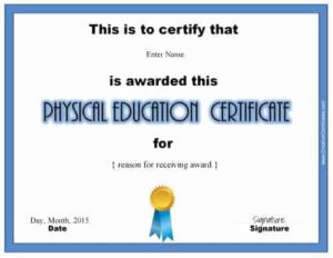 Physical Education Awards And Certificates – Free with Physical Education Certificate Template Editable
