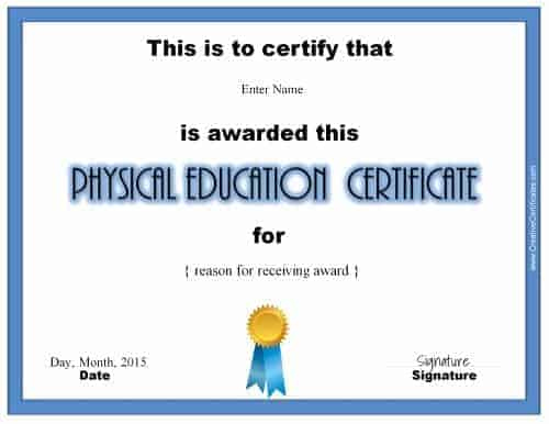 Physical Education Awards And Certificates - Free with Physical Education Certificate Template Editable