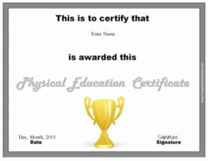 Physical Education Awards And Certificates – Free with regard to Physical Education Certificate Template Editable
