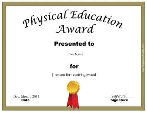 Physical Education Awards And Certificates - Free with regard to Physical Education Certificate Template Editable