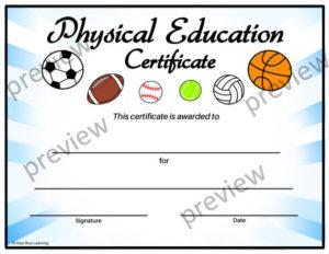 Physical Education Certificate, Pe Certificate, Editable Pe Certificate,  End Of Year Certificates, Template, Certificates within Pe Certificate Templates