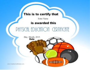 Physical Education Certificates | Education Certificate within Best Pe Certificate Templates