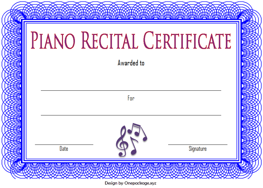 Piano Recital Certificate Template Free Printable (Semi with regard to Piano Certificate Template Free Printable