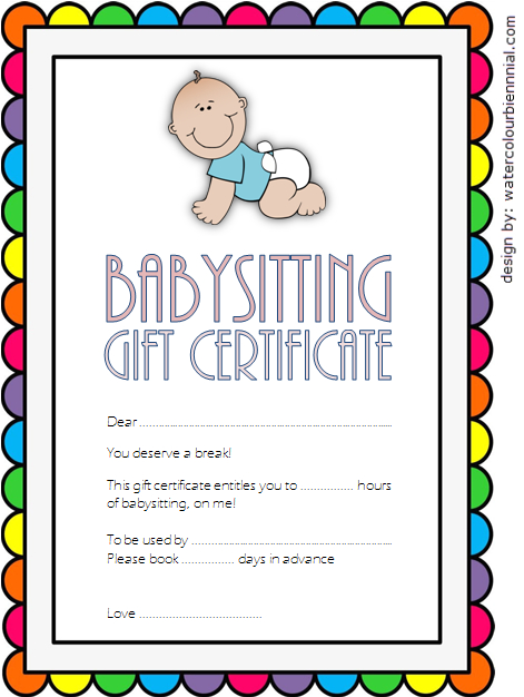 Pin On Babysitting Certificate Template Free inside Best 7 Babysitting Gift Certificate Template Ideas