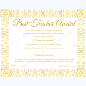 Pin On Best Teacher Award Certificate Templates for Best Teacher Certificate Templates