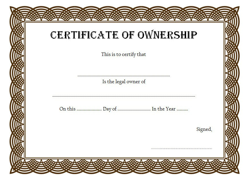 Pin On Certificate Of Ownership Free Ideas with regard to Ownership Certificate Template