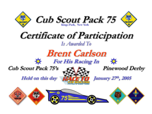 Pin On Certificate Template throughout Pinewood Derby Certificate Template