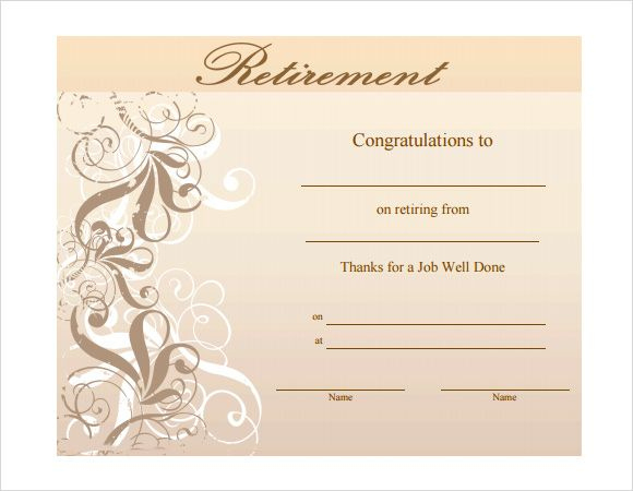Pin On Certificate Templates for Free Retirement Certificate Templates For Word